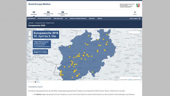 Screenshot Interaktive Karte Europawoche 2016