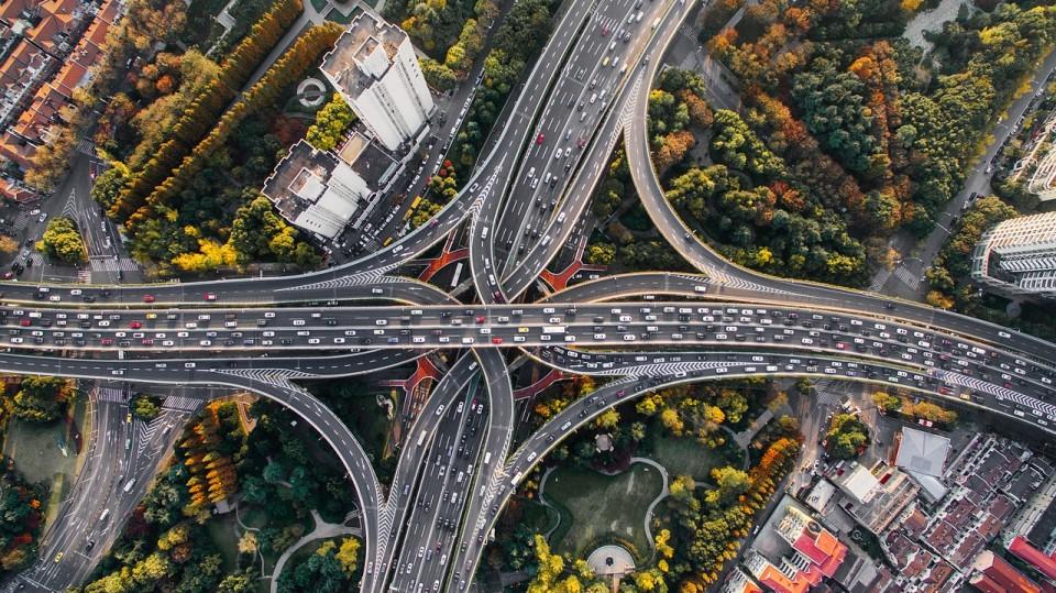 Straßen Autobahn Luftaufnahme